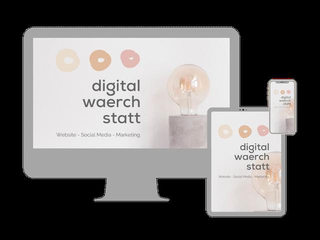 Anzeige Website digitalwaerchstatt auf PC, Handy und Tablet