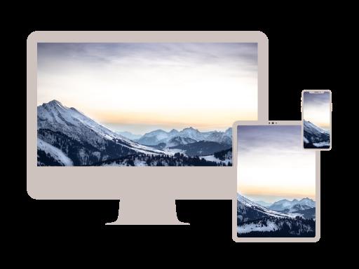PC Tablet und Mobile mit Bild: Alpen