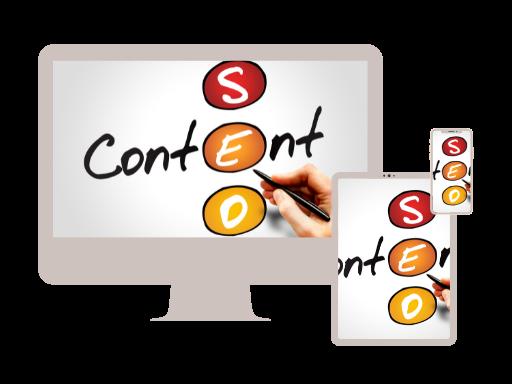 PC Tablet und Mobile mit Bild: Wort Content als Scrabble