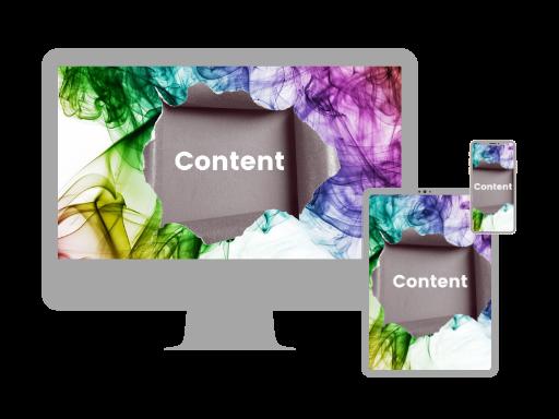 PC Tablet und Mobile mit Bild: farbige Wolke mit Loch in Papier und Wort Content